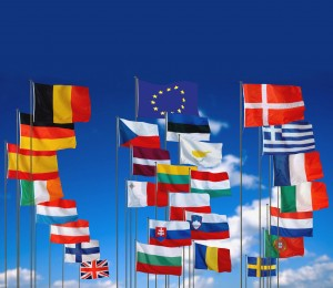 The flags of the 27 EU Member States following enlargement on 1 January 2007